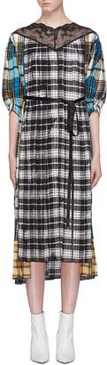 Marc Jacobs Lace trim colourblock tartan plaid pleated silk dress