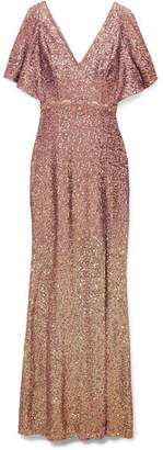 Marchesa Ombré Sequined Satin Embellished Gown - Blush