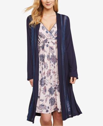 Jessica Simpson Nursing Lace-Trim Belted Robe
