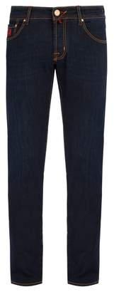 Jacob Cohën - Red Leather Badge Slim Fit Jeans - Mens - Dark Blue