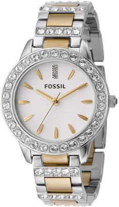 Fossil Women Jesse Two Tone Stainless Steel Bracelet Watch 34mm ES2409