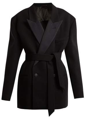 Raey Exaggerated Shoulder Wool Twill Tux Jacket - Womens - Navy