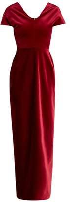 Emilio De La Morena Tamara Dartelle V Neck Velvet Gown - Womens - Red