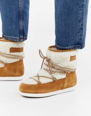 Moon Boot Far Side Low Shearling Boot in Whiskey