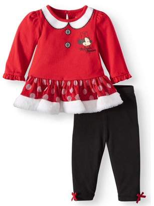 Minnie Mouse Long Sleeve Tutu Dress & Tights, 2-Piece Outfit Set (Baby Girls)