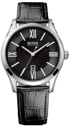 BOSS Men's Ambassador Croc Embossed Leather Watch, 43mm