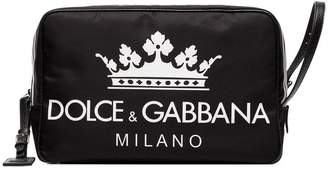 Dolce & Gabbana black logo leather wash bag