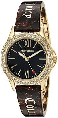 Juicy Couture Black Label Women's JC/1068BKBN Swarovski Crystal Accented Gold-Tone and Brown Zebra Resin Bangle Watch