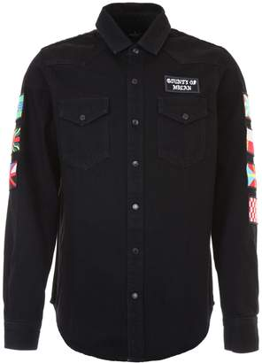 Marcelo Burlon County of Milan Denim Shirt With Flag Patches