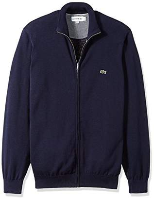 Lacoste Men's Long Sleeve Halfmoon Full Zip Jersey Sweater