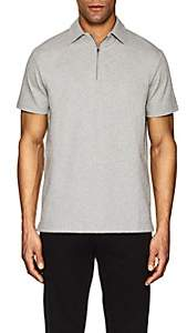 Barneys New York MEN'S ZIP-FRONT COTTON FRENCH TERRY POLO SHIRT-GRAY SIZE XS
