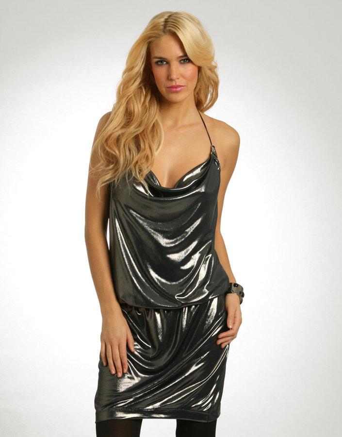 Miss Sixty Slinky Jersey Drape Metallic Dress