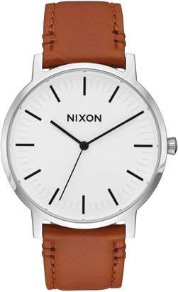 Nixon Porter Round Leather Strap Watch, 40mm