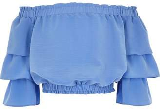 River Island Girls blue tiered frill sleeve bardot top
