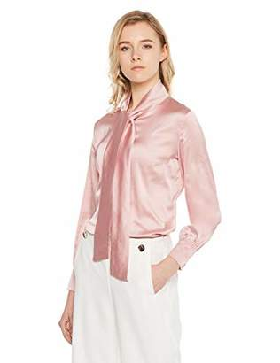 400476175 MEHEPBURN Women's Long Sleeve Bow-Tie Neck Silky Button Down Shirt Blouse L