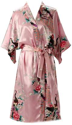 5bc1ac83a1 Yayun Yayu Women s Lightweight Sexy Kimono Robe Long Floral Wedding Robes  for Bridesmaids Satin Silk Bathrobe