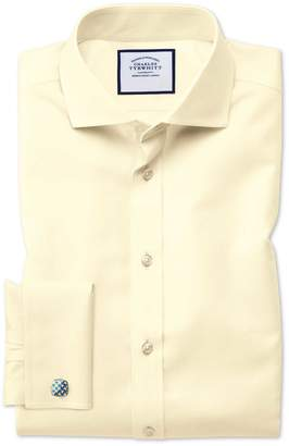 Charles Tyrwhitt Slim Fit Spread Collar Non-Iron Twill Yellow Cotton Dress Shirt French Cuff Size 14.5/33