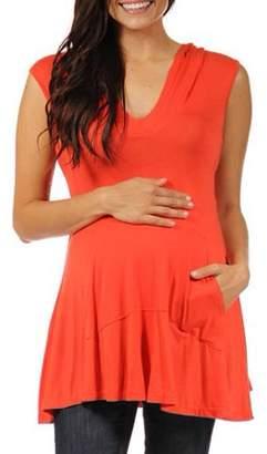 24/7 Comfort Apparel Women's Sleeveless Maternity Tunic Hoodie with a Kangaroo Pocket