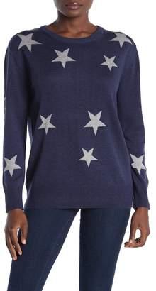 Magaschoni M Crew Neck Tri-Color Star Print Sweater