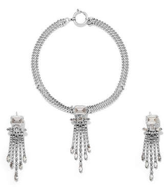649bcc2232 Isabel Marant Silver-tone Crystal Necklace And Earrings Set
