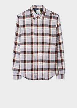 Paul Smith Men's Tailored-Fit Mauve And Black Check Cotton-Linen Shirt