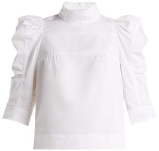 Chloé - Puffed Sleeve Cotton Blouse - Womens - White