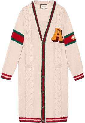 Gucci Embroidered chunky cable knit cardigan