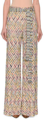 Missoni Belted Wide-Leg Pull-On Pants