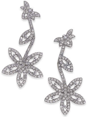 INC International Concepts I.n.c. Silver-Tone Pave Flower Drop Earrings, Created for Macy's