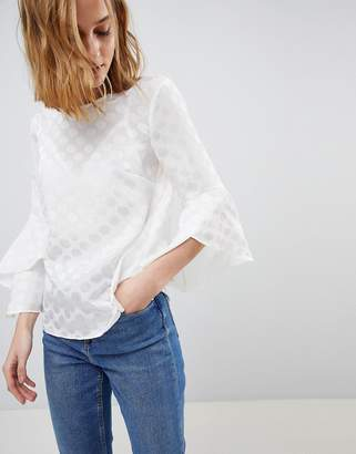 Warehouse Spot Burnout Fluted Sleeve Blouse