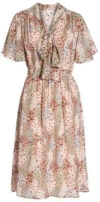 1901 Tie Neck Floral Midi Dress