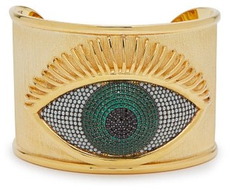 Begum Khan - Evil Eye Emerald Embellished Gold Plated Cuff - Womens - Gold