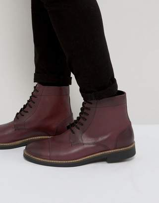 Frank Wright Military Lace Up Boots In Hi Shine Ox