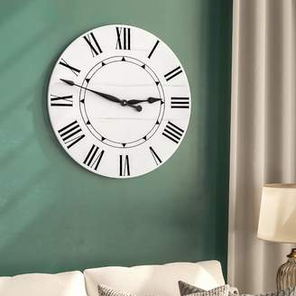 Darby Home Co Oversized Tracee Farmhouse Wall Clock