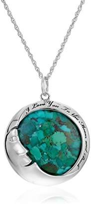 "Sterling Silver Synthetic Compressed Moon""I love you to the moon and back"" Pendant Necklace"