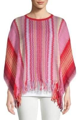 Missoni Fringe-Trimmed Stripe Cotton Poncho