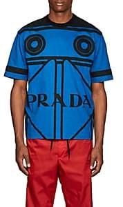 Prada Men's Cassette-Print Cotton T-Shirt - Blue