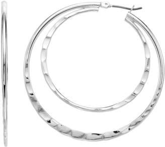 Napier Hammered Double Hoop Earrings