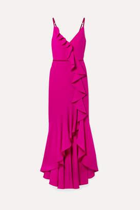 Marchesa Velvet-trimmed Ruffled Crepe Gown