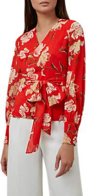 Hobbs Ottilie Floral Print Blouse, Red