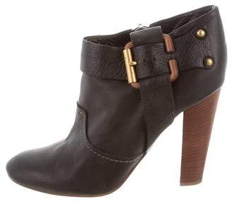 Chloé Buckle-Accented Leather Booties
