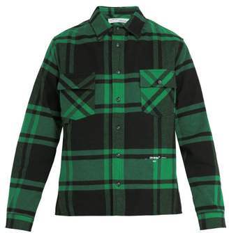 Off-White Off White Checked Cotton Blend Flannel Shirt - Mens - Green