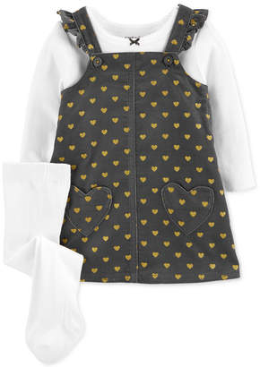Carter's Carter Baby Girls 3-Pc. Bow T-Shirt, Heart-Print Jumper & Footed Tights Set