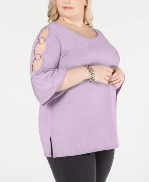 JM Collection Plus Size Cutout-Sleeve Top, Created for Macy's