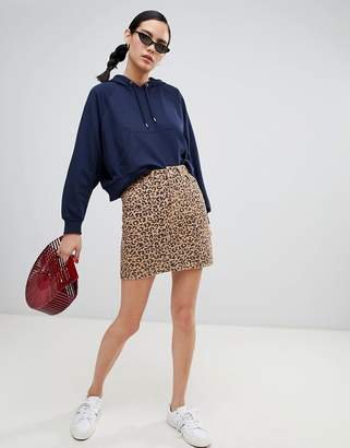 New Look Leopard Print Denim Skirt