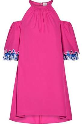 Peter Pilotto Woman Cold-shoulder Eyelet Cotton-poplin Mini Dress Pink Size 6 Peter Pilotto Free Shipping 100% Guaranteed Buy Cheap New Styles 2018 Newest Online Vl2pnQ4ViU