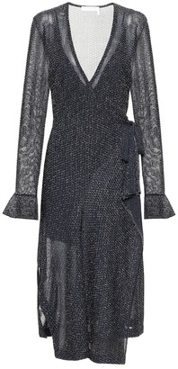 Chloé Metallic midi wrap dress