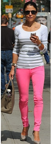 Tees by Tina Nautical Stripe Tee in White and Fog as Seen On Bethenny Frankel