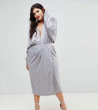 Asos Shoulder Pad Long Sleeve Selenia Midi Dress