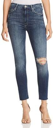 Mother The Looker High-Rise Ankle Fray Skinny Jeans in Close to the Edge